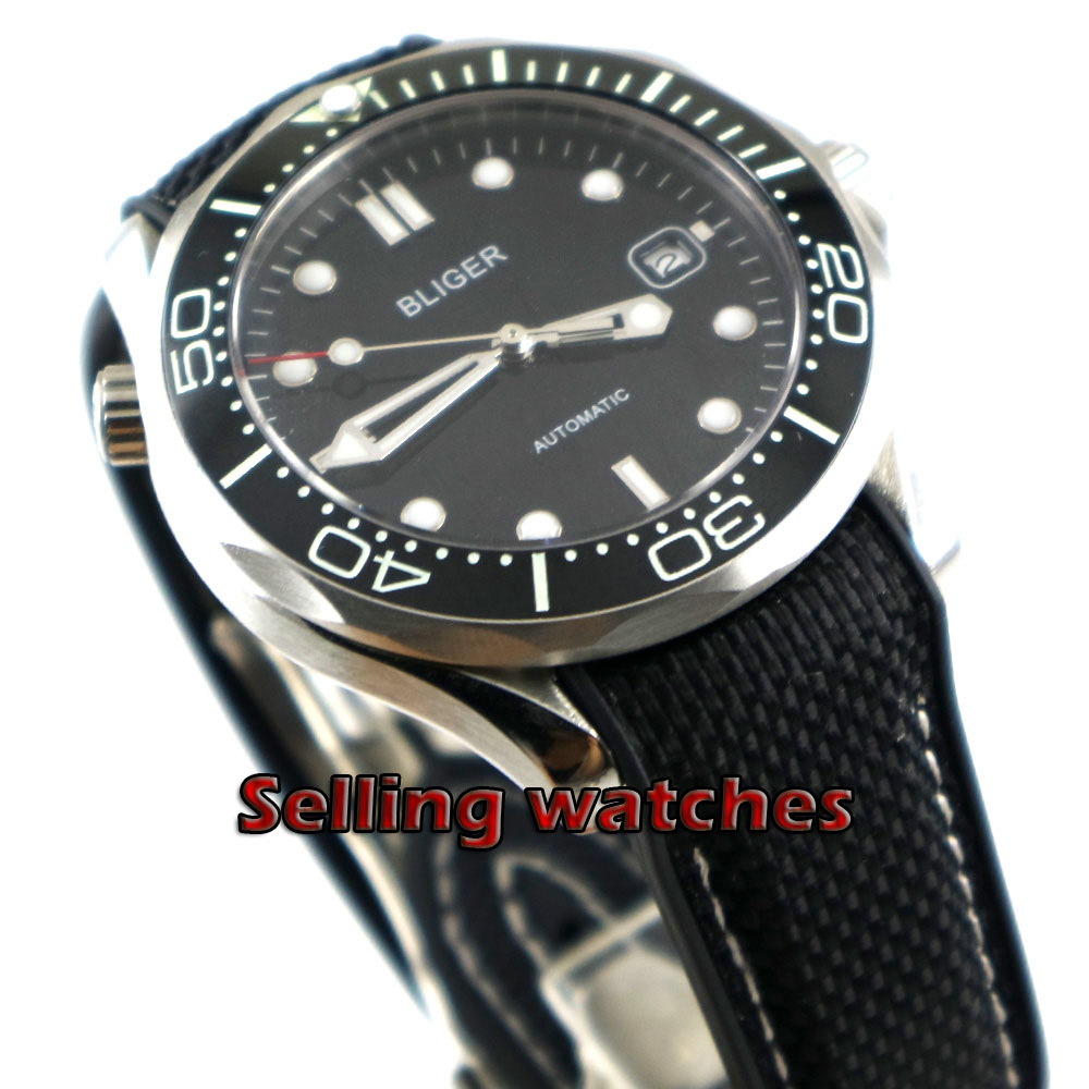 41mm bliger Black dial Black Rubber strap ceramic bezel sapphire glass date Mechanical automatic mens watch