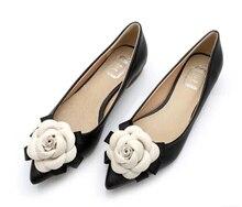 Chaussures plates à bout pointu pour femmes, chaussures plates en cuir véritable à fleurs, écharpe et femme, nouvelle collection automne 2019