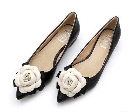 Zapatos planos con punta en pico para mujer, zapatillas femeninas de cuero genuino, con forro de flores, zapatos planos, calzado femenino de otoño, Scarpe Donna, 2019