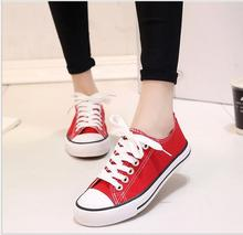 Free shipping!!!  2016 fashion women's shoes new products in Europe and the low flat with lace-up canvas shoes White shoe 35-40