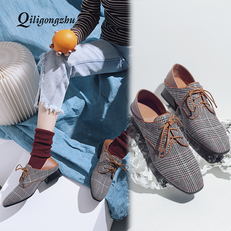 Spring Autumn Genuine Leather Flat Shoes for Women Casual Flat Shoes Women Flats Round Toe Lace