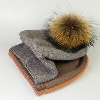 จริงขนหมวกถักจริงบิ๊กแรคคูนPom Pomหมวกผู้หญิงฤดูหนาวหมวกU Nisex