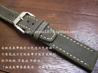 Tool + Crazy horse skin Watchbands Men Genuine Leather Stainless Steel Buckle Strap Watch Band 21 22 mm Gray high grade strap