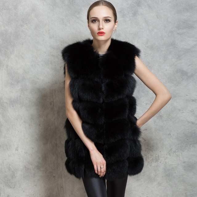 Fashion Women's Winter Warm Faux Fur O-Neck Slim Long Vest Waistcoat