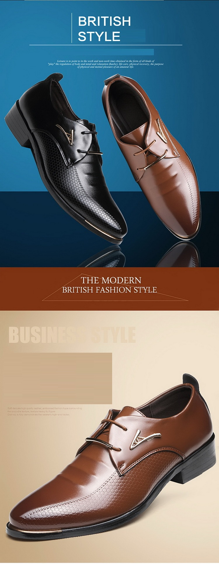 Business Casual Shoes Brown Black Leather Oxford Shoes For Men