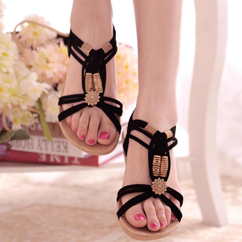 Frauen Sandalen 2019 Mode Sommer Schuhe Frauen Böhmen Flache Sandalen Für Strand Chaussures Femme Gladiator Sandalen Casual Flip Flop