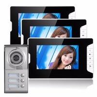 3 Units Apartment Doorbell 7 Night Vision Home Security Door Camera Video Door Phone For Villa