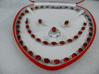 Favorite Women S Jewellery Red Ruby White Gold 18k Necklace Set Gift Box Size 8