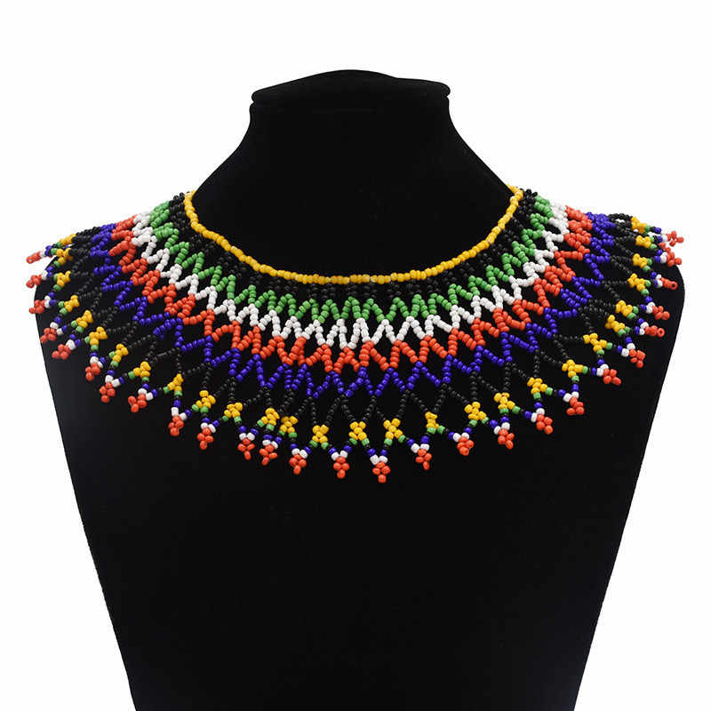 Multicolor South African Resin Beaded Necklace Bib Statement India Zulu Ethnic Tribal Egyptian Jewelry For Women Wedding Gifts