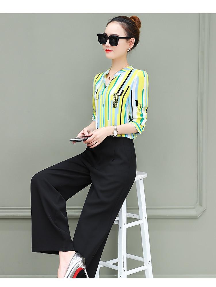 New OL suits 2018 summer Korean fashion stripe chiffon blouse top & wide-legged pants two pcs clothing set lady outfit S-4XL 15