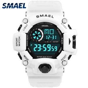 Image 1 - นาฬิกาผู้ชายดิจิตอลนาฬิกาสีขาวSMAELกีฬานาฬิกากันน้ำ50Mวันที่Relogio MasculinoดิจิตอลทหารนาฬิกาMens Sport