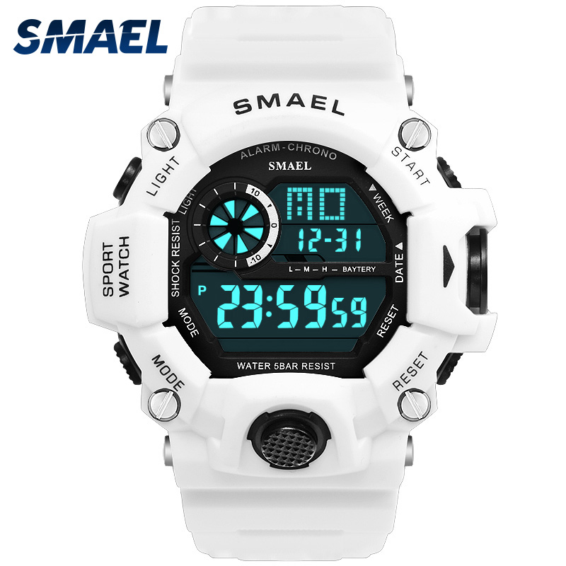 Sport Quartz Wristwatches Male Watch SMAEL Sport Watches for Men Waterproof Relojes Hombre 1385C White Digital Military Watches