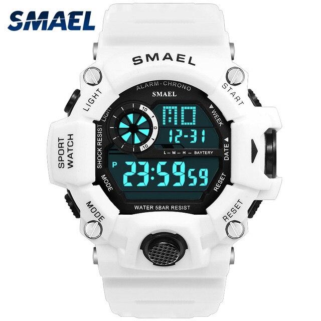 Zegarki męski zegarek cyfrowy biały zegarek sportowy SMAEL 50M wodoodporny Auto data relogio masculino cyfrowe zegarki wojskowe męskie sportowe
