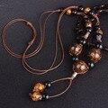 Леопардовый керамические бусины этнические ожерелье, ручной работы, плетеные Jingdezhen керамические украшения старинные длинные подвески свитер ожерелье