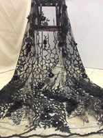 Beautifical french fabrics Fashion black lace fabric with rhinestones 3d flowers net lace bridal fabric for dresses ML1N810