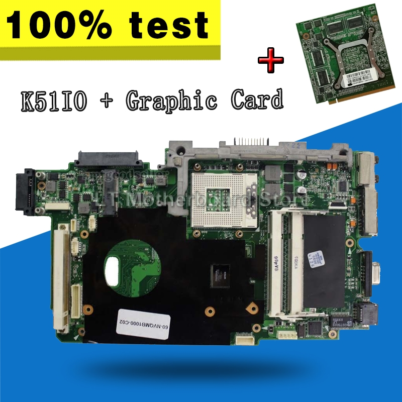 Laotop Motherboard+1GB GT220M Graphic Card For ASUS K51 K51IO K61IC K70IO Pro66IC X66IC K61IC Pro79L K70IC X70I Laptop Mainboard