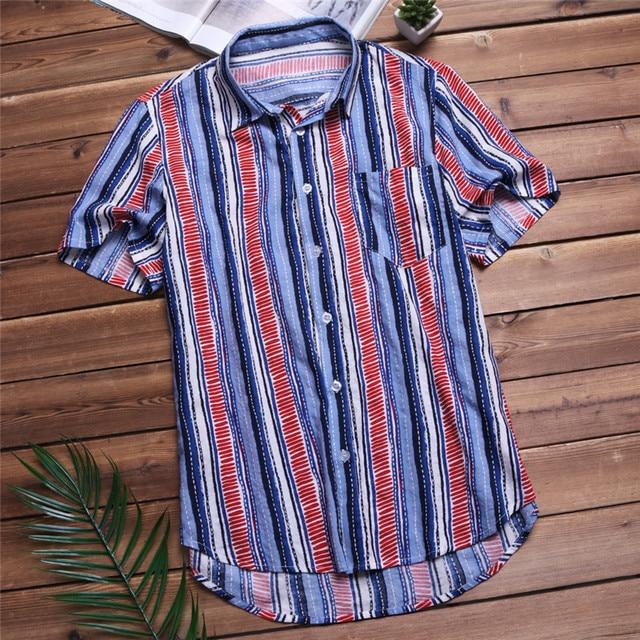 cd96ae477d 2018 Casual Stripe Men Shirt Cotton Pockets Short Sleeve Tops Holiday Loose  Fashion Hawaiian Shirt Camisa Men Clothes Plus Size