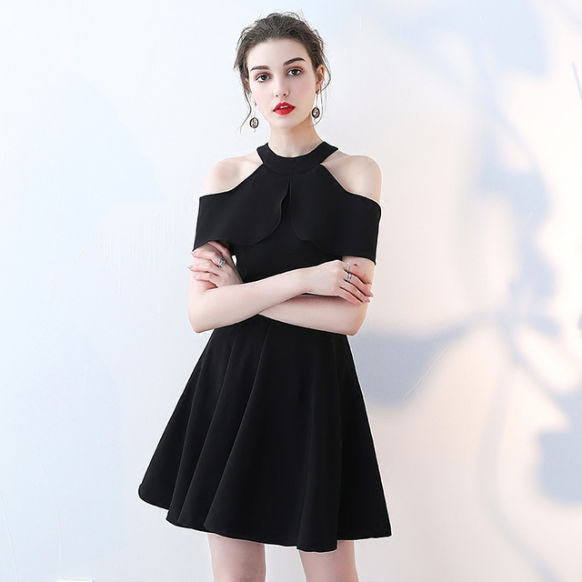 25a6b435b23 2019 Summer Style Sexy Halter Mini Dress Women Simple Solid robe femme ete  Ruffle Off Shoulder A-Line Party Dress