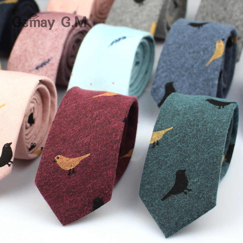 Fashion Ties for Men Cotton Narrow Tie Skinny Cravat Neckties for Winter Men Party Skinny Tie Casual Printed Neck Ties Neckwear