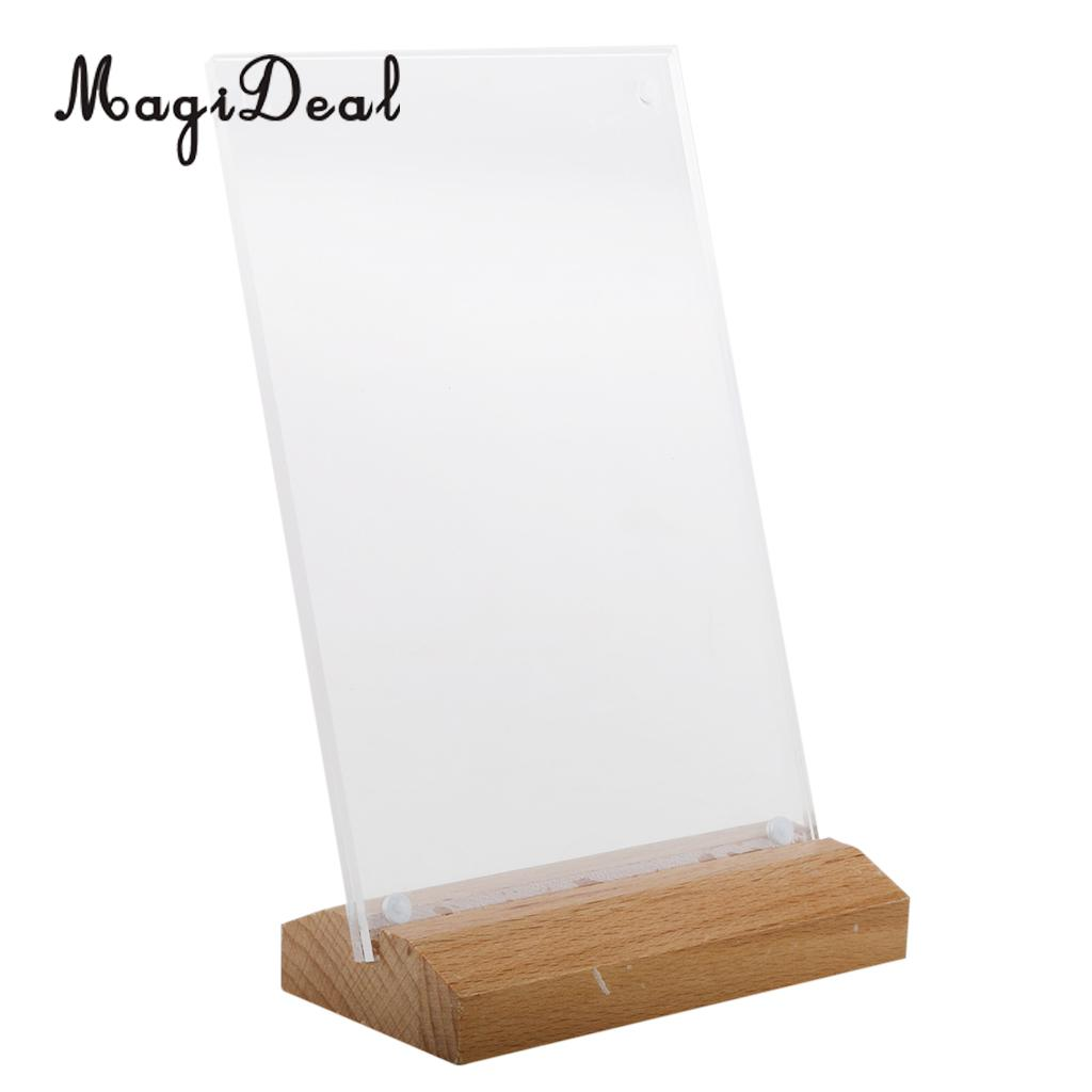 MagiDeal Acrylic Table Tent Frame Tabletop Photo Frame Menu Holder Display stand with Wood Base