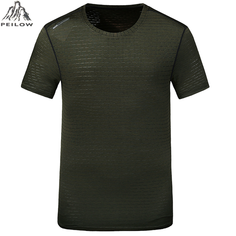 PEILOW big size L~5XL,6XL,7XL,8XL Brand Short sleeve   t     shirts   Quick Dry Slim Fit Men Women Stripe splicing Military   T  -  shirt   Men