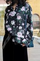 2 colors 100% silk purple rose print long sleeve lady blouses women soie shirt spring autumn