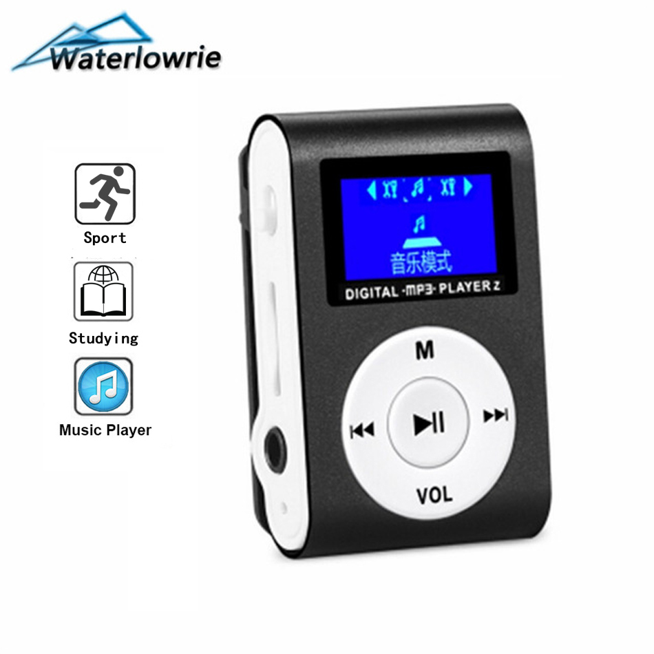 Waterlowrie Mini Clip MP3 Hot Sale LCD Screen Walkman Metal Music Player Support Micro TF/SD Slot Portable Players Sport mp 3