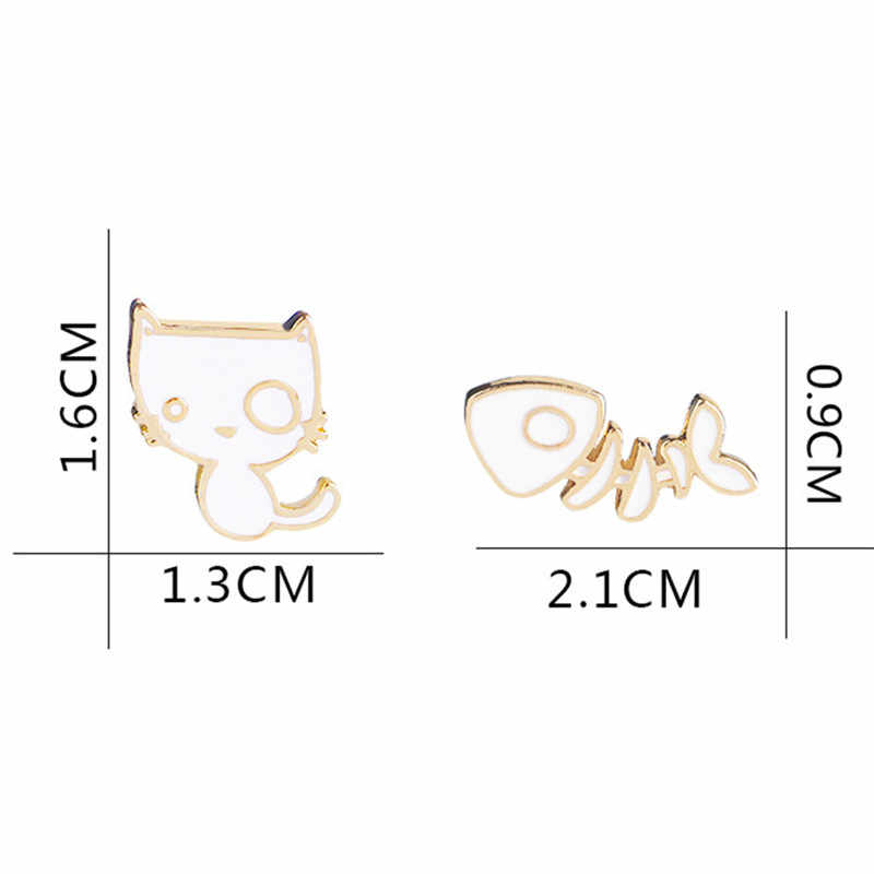2 шт./компл. Эмаль Кот рыбья кость булавка значок сплав белый Забавный котенок животное брошь куртка рюкзак рубашка воротник значок на булавке подарок