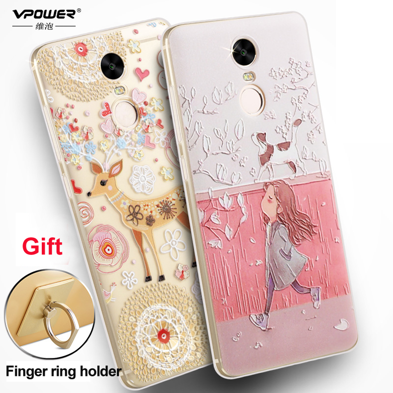 Xiaomi Redmi Note 4 case cover Vpower Silicone 3D Relief Print tpu soft Case for Xiaomi Redmi note 4 5.5 inch