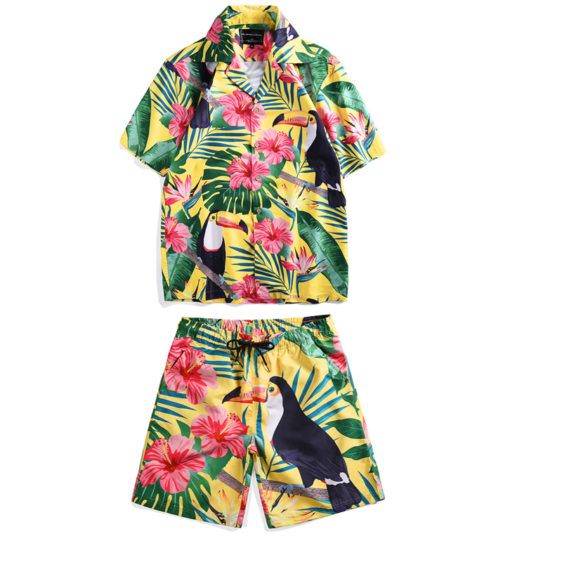 Mr.1991IN Summer Vacation Sets Men's Toucan Printed Tropical Style Beach Hawaiian Suit Short Shirts Shorts Two Piece Suit Men