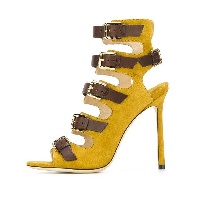 9aee8e25f56a0b Chaussures yellow 43 De Talons D'été Cm Stilettos Boucle Sandales Chaussons  Sexy Femmes brown Mode Grand Cage Taille Étroite Gladiateur Bande 2019 ...
