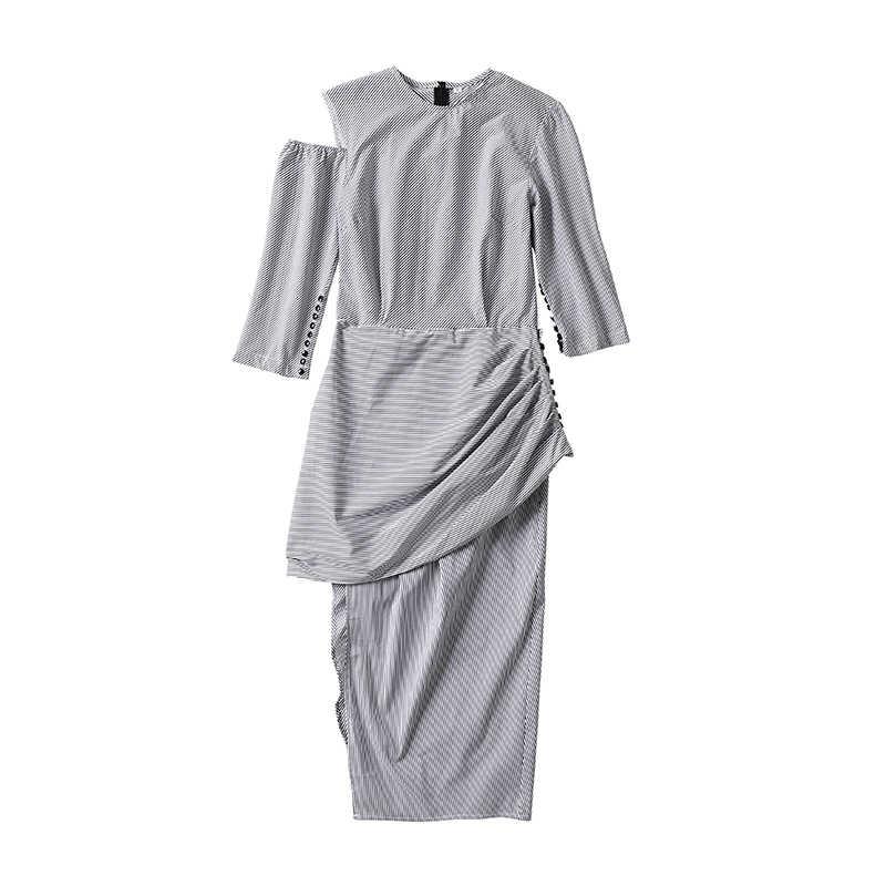 Deuxtwinstyle Sexy rayé épaule dénudée robes d'été pour femmes demi manches asymétrique robe de soirée femme décontracté 2019