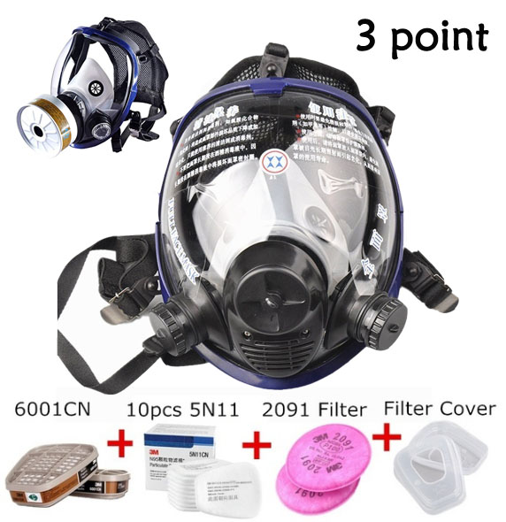 3 Point Chemical Mask 17in1 Suits Gas Mask Acid Dust Respirator With 3M 6001 2091 Filter Full Face Gas Mask