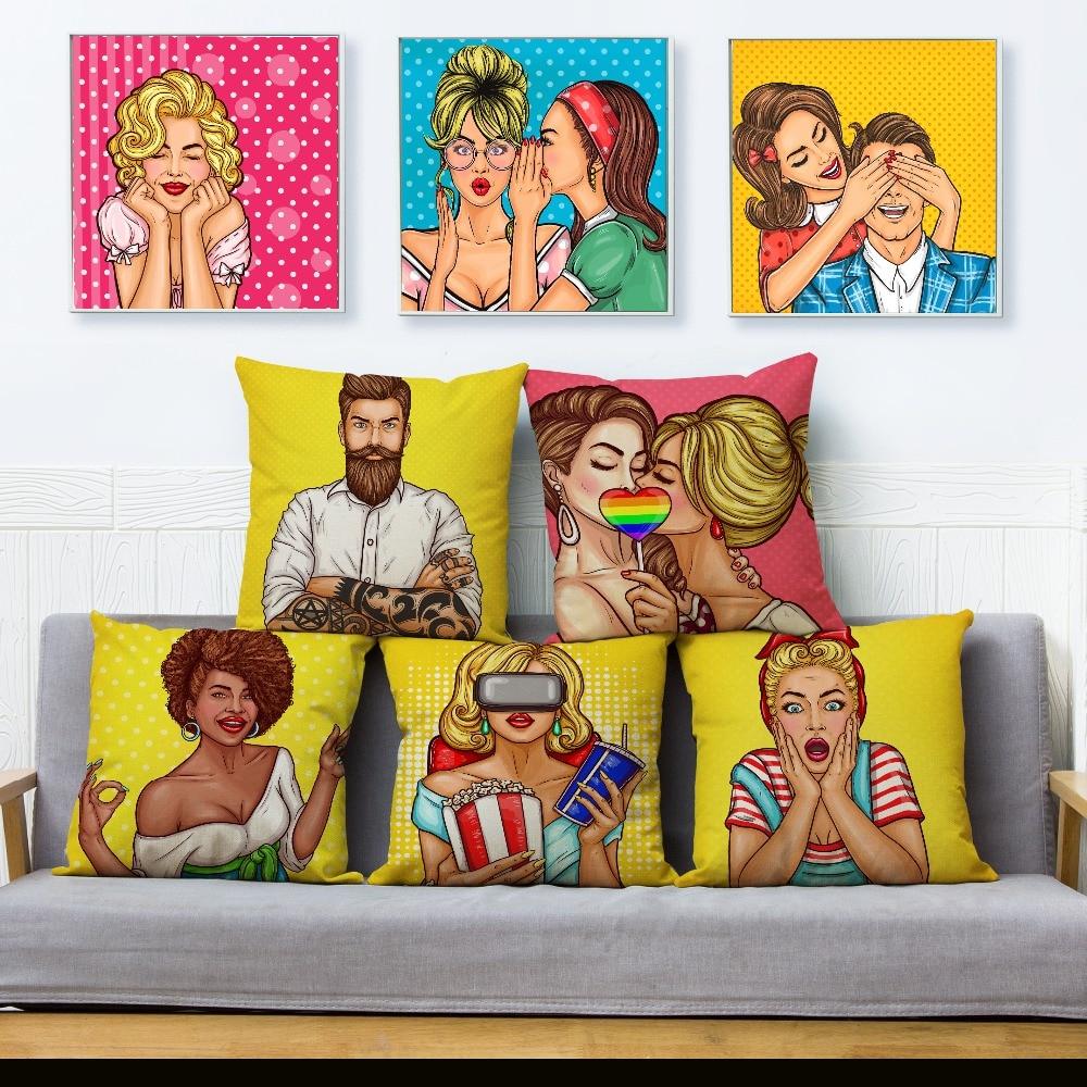 Fashion Comic Lovers Portrait Print Cushion Cover 45*45cm Beige Linen Pillow Covers Throw Pillows Cases Home Decor Pillowcase