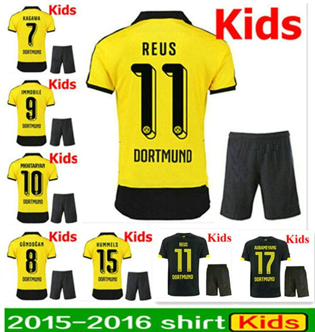 ... 15 16 Borussia Dortmund Soccer Jersey kids BVB Dortmund Soccer Kids 2016  Dortmund Boy REUS Children ... 70580219a1a17