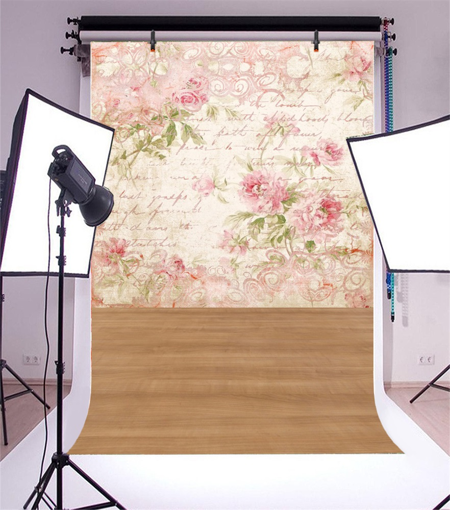 Laeacco Wooden Boards Floor Flower Wall Scene Baby Child Portrait Photographic Background Photography Backdrops For Photo Studio in Background from Consumer Electronics