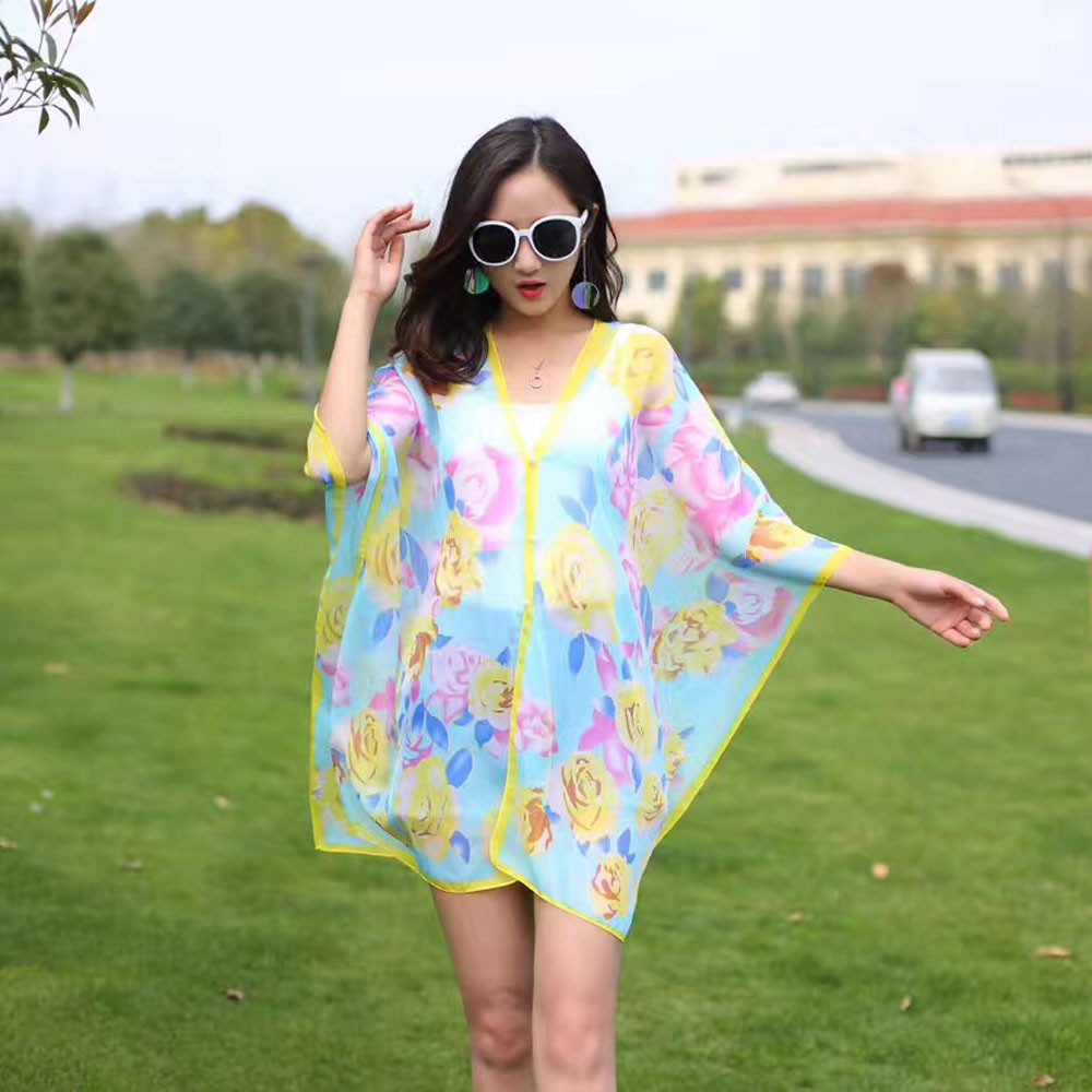 New Arrival Women Chiffon Sunscreen Scarf High Quality Big Size Printed Silk Scarf Shawl flor ponchos capes xales e ponchos