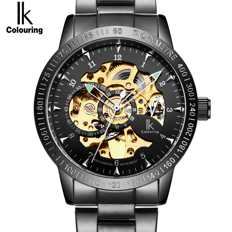 IK New Black Men's Skeleton WristWatch Stainless steel Antique Steampunk Casual Automatic Skeleton Mechanical Watches Male