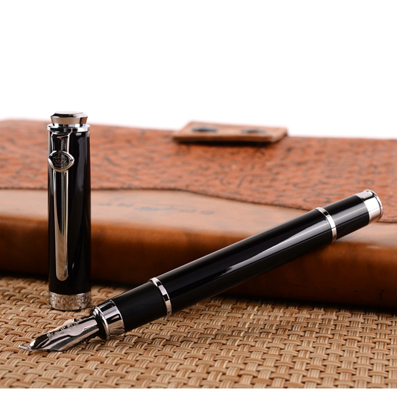 Black Germany Duke Bent Nib 0.8mm Art Fountain Pen Business Gift Calligraphy Pens Office and School Supplies Free Shipping fountain pen curved nib or straight nib to choose hero 6055 office and school calligraphy art pens free shipping