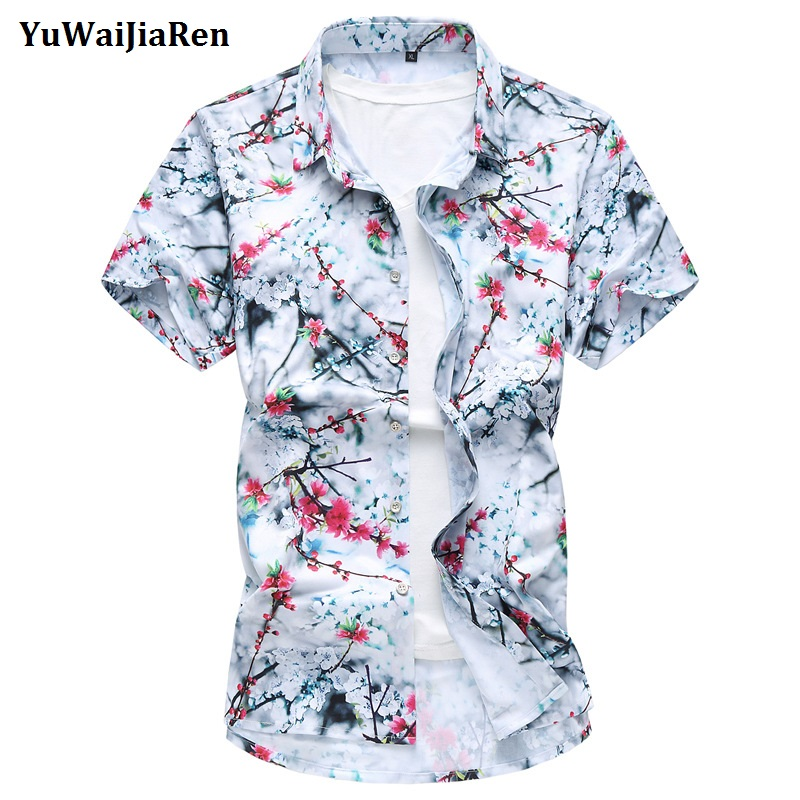 WUAI Mens Casual Short Sleeved Shirts Plus Size Floral Slim Fit Tops