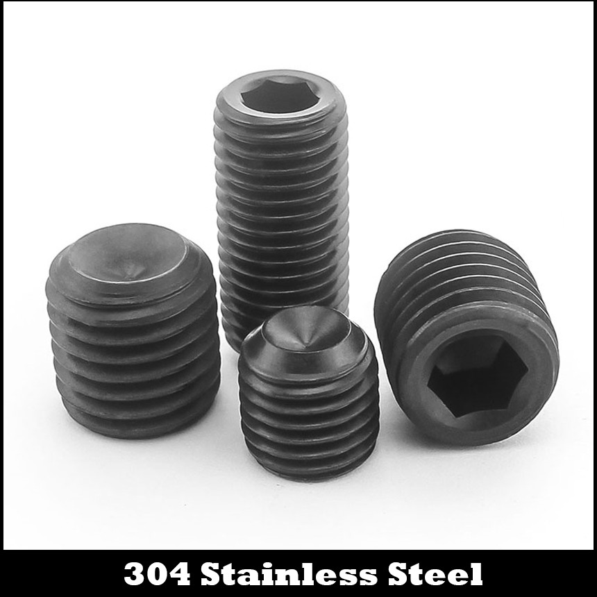 M3 M3*6 M3x6 M3*8 M3x8 M3*10 M3x10 Black 304 Stainless Steel DIN916 Allen Head Inner Hex Hexagon Socket Grub Cup Point Set Screw 304 stainless steel set screw black inner hexagon hex socket cup end m top thread headless screw bolt m3 3 4 5 6 8 10 12