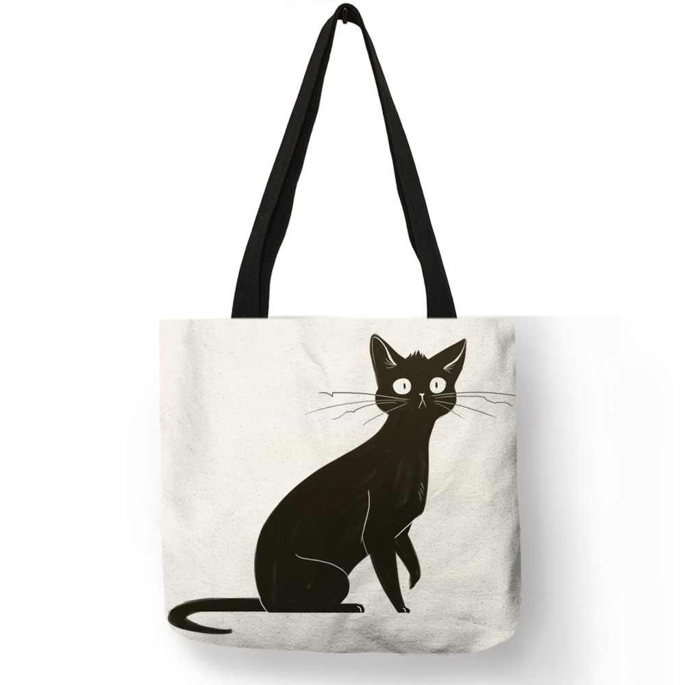 Personalized Watercolor Cat Art Print Tote Bags For  Linen Shopping Bag Folding Reusable Fabric Handbags For Women