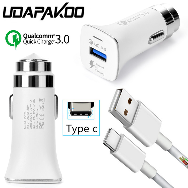 Quick charge 3.0 QC Fast Car charger Adapter + 1M Type c USB