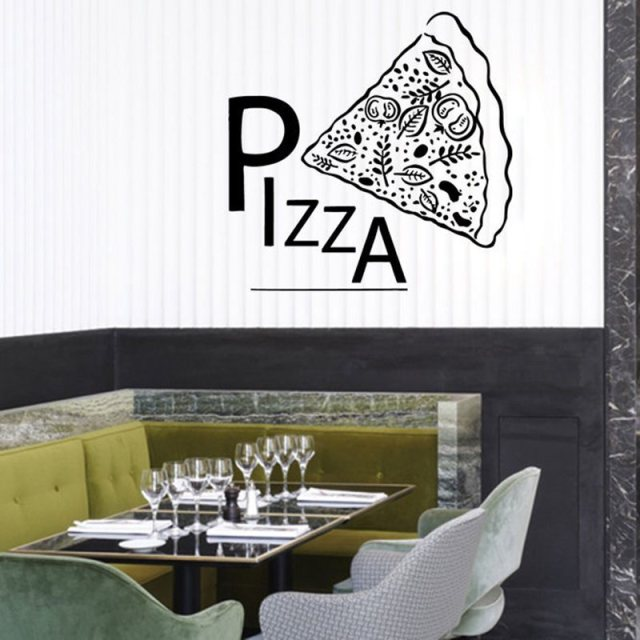 Lovely DCTAL Pizza Decal Restaurant Sticker Posters Vinyl Wall Decals Pegatina  Quadro Parede Decor Mural Pizza Sticker
