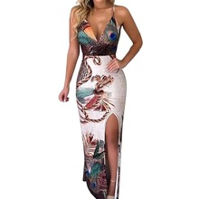 2019 Women summer dress Peacock Feather Print Thigh Slit Slip Dress Maxi Party Summer