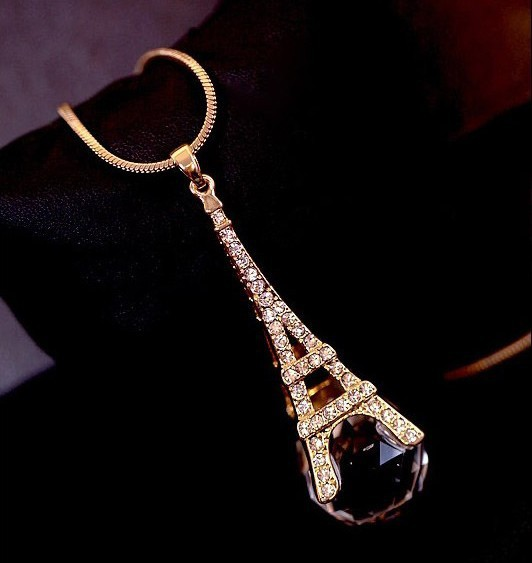 Eiffel Tower in Paris fashion Symphony crystal ball sweater chain female long necklace for women Fashion jewelry free shipping