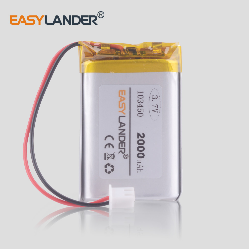 3.7V 2000mAh 103450 Battery Li-polymer Rechargeable Batteries For  Toy GPS MP3 MP4 MP5 Cell Phone Speaker Driving DVR XH2.54 2P