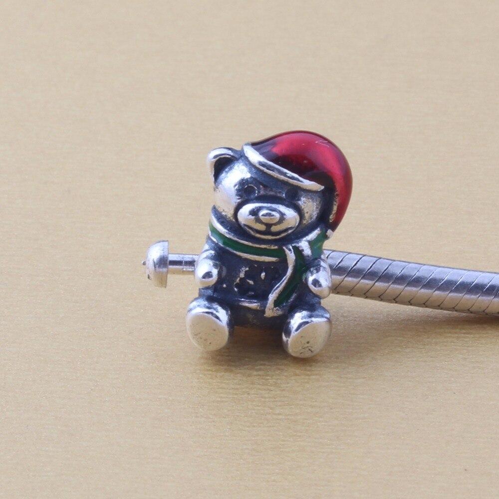 ZMZY 100% 925 Original Sterling Silver Charms Christmas Gift Bear Beads Fit Pandora Charm Bracelet