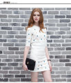Fashion Women Knitted Tops+Skirts Sets Half Sleeve Print Diamonds Woman Knitting Tops Outfits Set Ladies Skirt Clothing Suit