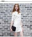 Mujeres de la manera de Punto Tops + Faldas Conjuntos de Diamantes de Impresión Media Manga Mujer Knitting Tops Trajes Set Señoras Falda Ropa Traje